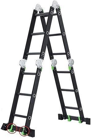 WYNZYYX Escalera Retráctil, Escalera Multifunción Escalera Recta De 5 Mm Aleación De Aluminio Carga Plegable 150 Kg En Línea con Escalera EN131 (Color : 4.7m): Amazon.es: Hogar