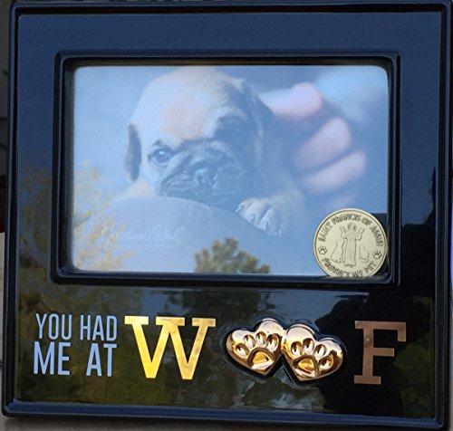 Paw Print Medallion (You Had Me At Woof Dog Pet Ceramic 4x6 Picture Frame & Saint Francis Medallion)