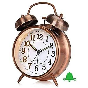 Reloj despertador retro, reloj despertador antiguo con doble campana, sin tic tac, despertador analógico de cuarzo silencioso a batería, con luz de noche para el dormitorio