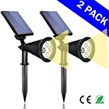 Solar Warm Lights 2-in-1 LED Outdoor Landscape Lighting - 200 Lumens Spotlight - 2 Pack - Easy to Install Lights - Waterproof, Perfect as InGround Garden, Security, or Wall Light