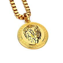 INMUINS Europe And The United States Men's Retrol Lion Head 18K Gold Plating Pendant Necklace