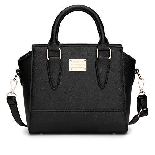 Qjfashion Women's Cross Pattern Handbag Ladies Pu Leather Shoulder Messenger Bag (black) Qjwaa0779