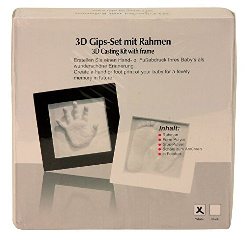 Babyset inklusive Rahmen 23x23cm mit Gips-Set f/ür 3D Abdruck Baby-Abdruck Gips Set mit Fotorahmen-Schwarz