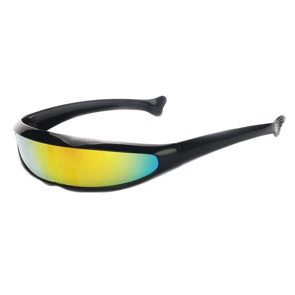 MagiDeal Gafas de Sol Visera Lente Color Estrecha Futurista C/íclope Decoraci/ón de M/áscara de Fiesta Marco Blanco Amarillo reflejado
