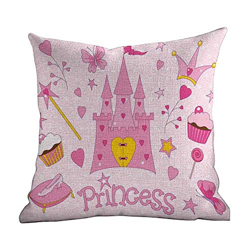 outdoor pillow covers,Kids,Little Princess Tiara Slippers Fairy Castle Butterfly Heart Lollipop Wand Cupcake Girls Party Print,Decorative pillows Case Throw Pillows Covers for Couch/Bed14
