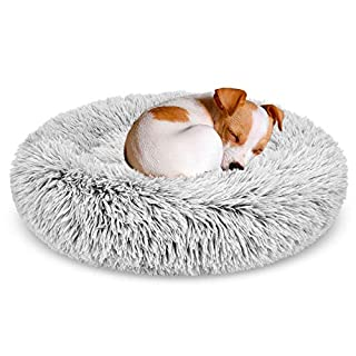 """GASUR Dog Bed Cat Beds Donut, Soft Plush Round Pet Bed Small Mini Medium Size Calming Bed, Self Warming Winter Indoor Snooze Sleeping Kitten Bed Puppy Kennel (2323"""", Frost)"""