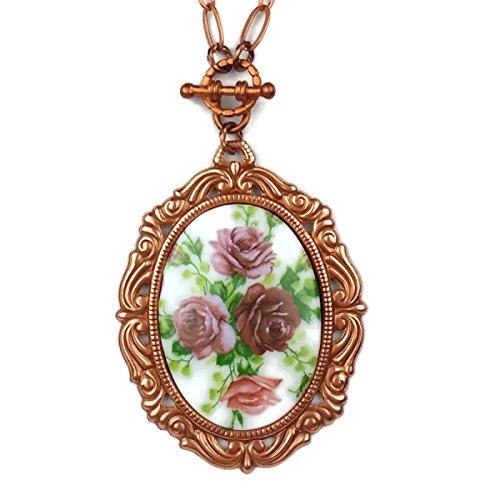 Porcelain Cameo Pendant Necklace - 1