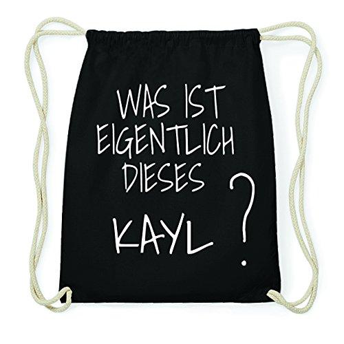 JOllify KAYL Hipster Turnbeutel Tasche Rucksack aus Baumwolle - Farbe: schwarz Design: Was ist eigentlich