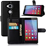 Huawei Honor 5X Case, Ultra Slim Stand Flip Wallet Case with Built-in Card Slots, Vikoo Premium PU Leather Wallet Cover Case for Huawei Honor 5X Smartphone(Black)