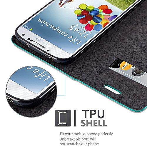 Cadorabo - Funda Book Style Cuero Sintético en Diseño Libro Samsung Galaxy S4 - Etui Case Cover Carcasa Caja Protección con Imán Invisible en TURQUESA-PETROL TURQUESA-PETROL