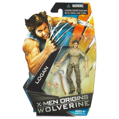 X-Men Origins Wolverine Movie Series 3 3/4 Inch Action Figure Logan with Bone Claws by Hasbro ()