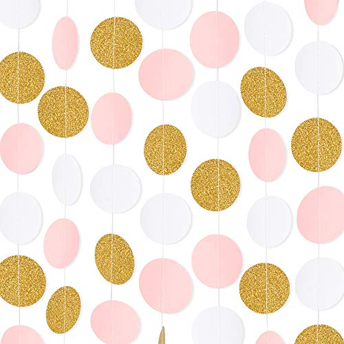 RUBFAC 5 Pack 65ft Paper Garland Pink White Glitter Gold Circle Dots Hanging Decorations for Baby Shower Birthday Party Wedding Decorations ()