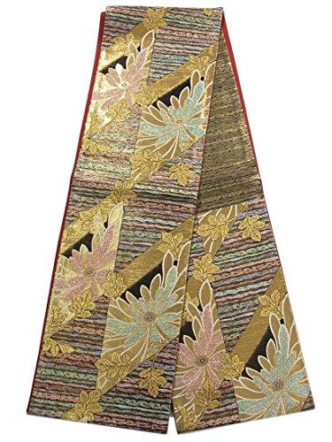 適応的遅い待ってリサイクル 袋帯 正絹 六通 菊の花模様