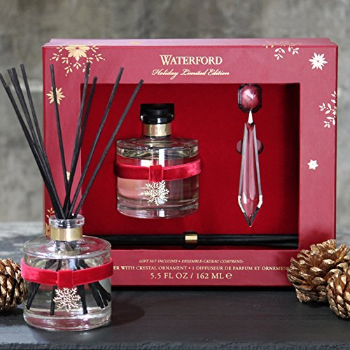 Waterford Holiday Collection Oil Reed Diffuser and Crystal Ornament Gift Set, Cranberry, Frasier Fir and Juniper Notes