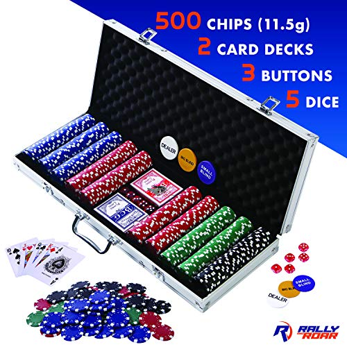 Professional 500 Chips (11.5g) Poker Set with Case by Rally & Roar - Complete Poker Playing Game Sets with 500 Casino Style Chips, Cards, Dice, Aluminum Case & Keys: Texas Hold'Em, Blackjack, and more (Aluminum Poker Chip Case Holds)