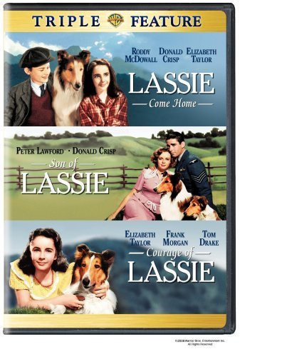 Lassie Come Home Movie (1943) Elizabeth Taylor, Roddy McDowell - Son of Lassie / Courage of Lassie -3 Classic Film Triple Feature (Twin Courage)