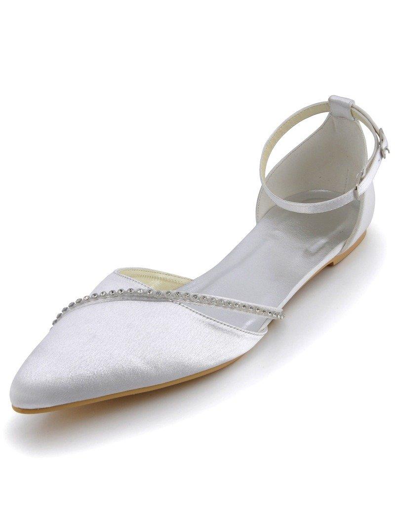 ElegantPark A670 Women Pointy Toe Ankle Strap Buckle Rhinestones Satin Wedding Bridal Flats White US 10