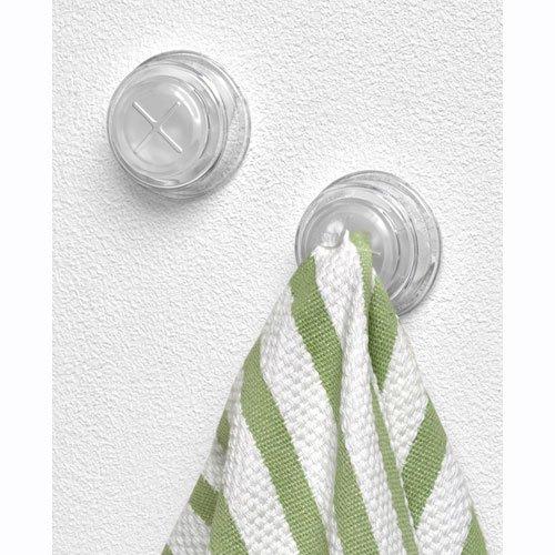 "Spectrum Adhesive Towel Grabber Set of 2 Hooks (Clear) (1"" h X 2.25"" w X 1.5"" d)"
