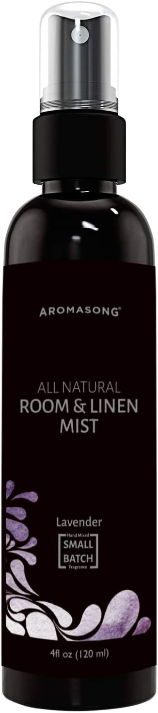 Aromasong All-Natural Lavender Room & Linen Spray 4 Fl OZ. Sheets, Pillow, Fabric, Bed, Air Freshener & Deodorizer - Calming Fragrance for Sleeping, Relaxing, Stress Relief - Refreshing Scent, Removes Smell