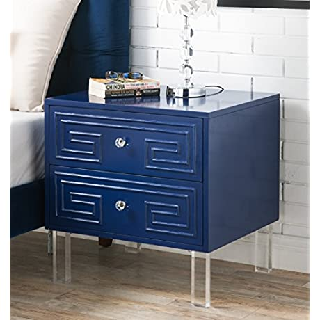Iconic Home Plato Stylish Accent Furnishing Modern Lacquer Finish Lucite Leg Side Table 24 X20 X24 Navy Blue