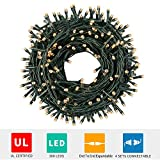 Green Convenience Christmas Lights String 108ft 300 LED Indoor String Lights with Plug,8 Modes Lights Waterproof - UL Certified Outdoor Indoor for Christmas,Party,Bedroom,Window,Wedding Decoration