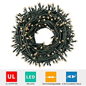 Green Convenience 108ft 300 LED Christmas Tree Lights with Plug, 8 Modes Lights Waterproof - UL Certified Outdoor Indoor for Valentine's Day Decoration,Bedroom, Party, Wedding, Holiday Decor,