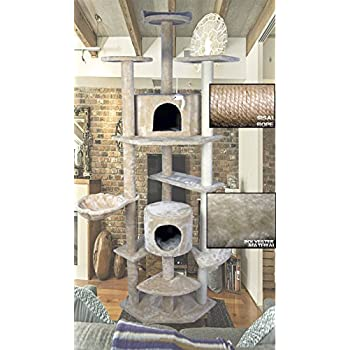 """Hiding Cat Tree 79"""" Tree Tower Condo Furniture Scratch Post Kitty Pet House Play Furniture Sisal Pole and Stairs (Beige)"""