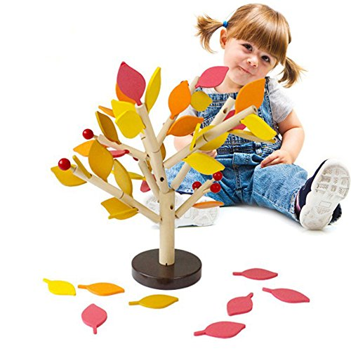 Banwen Creative 3D Tree Wood Building Blocks Tree Set for Kids DIY Learning Education Wooden Assembled Toys (Autumn Scenery)