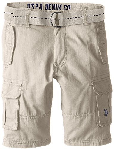 Toddler Boys Cargo Shorts Khaki (U.S. Polo Assn. Toddler Boys Belted Rip Stop Cargo Short, Light Khaki, 2T)
