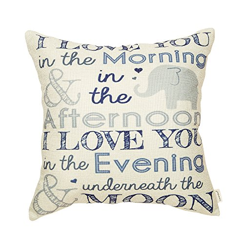 in The Morning and in The Afternoon I Love You in The Evening Nursery Décor Cotton Linen Home Decorative Throw Pillow Case Cushion Cover for Sofa Couch 18 x 18 in ()