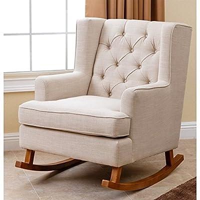 Abbyson Living Thatcher Fabric Rocking Chair in Beige
