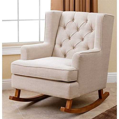 Abbyson Living Thatcher Fabric Rocking Chair in Beige by Abbyson Living