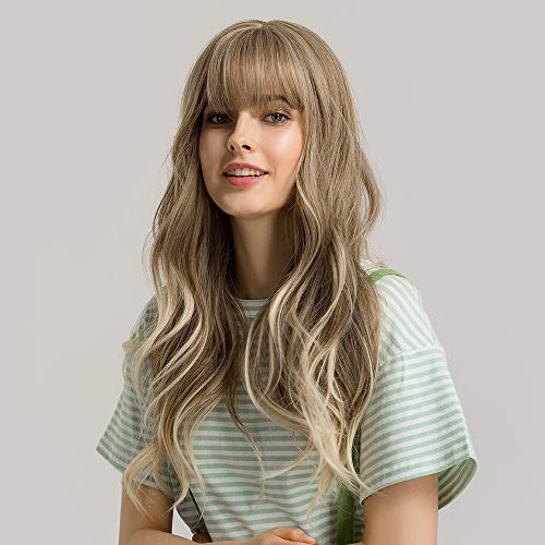"""24""""Women Synthetic Wigs Long Wavy Blond with Fluffy Air Bangs Light"""