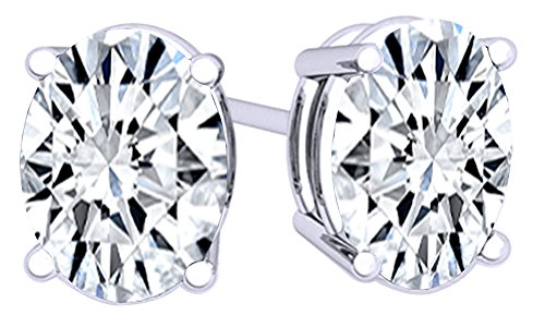 White Cubic Zirconia Oval Shape Stud Earrings In 14K White Gold Over Sterling Silver (6 (Cubic Zirconia Oval Shape)