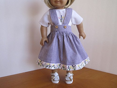 Hand Painted Flowers on Purple Check Jumper, 3 Flower T-Shirt and Sandals fits American Girl