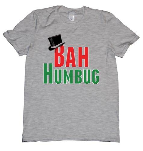 Bah Humbug Top Hat Tee Shirt Mens XXL grey N ()