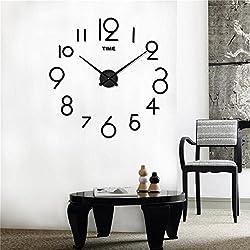 DIY 3D Wall Clock Modern Large Home Decor Sticker Frameless Black Mirror For Office Living Room Bedroom Kitchen Bar Art Digital Clock Plate