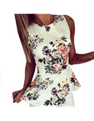 PanDaDa Women Floral Print Sleeveless Blouse O-Neck Casual Tops Plus Size Summer