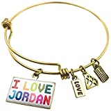 Expandable Wire Bangle Bracelet I Love Jordan ,Colorful - NEONBLOND