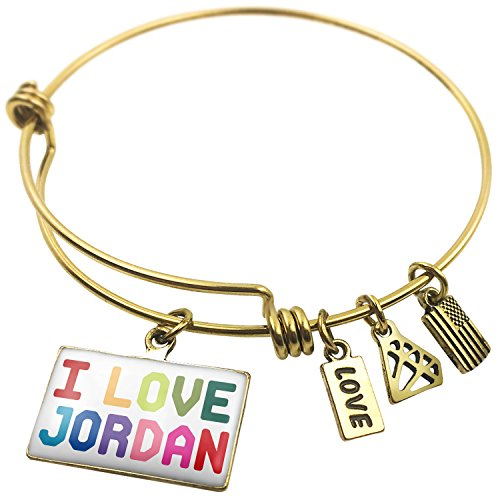 Expandable Wire Bangle Bracelet I Love Jordan ,Colorful - NEONBLOND by NEONBLOND
