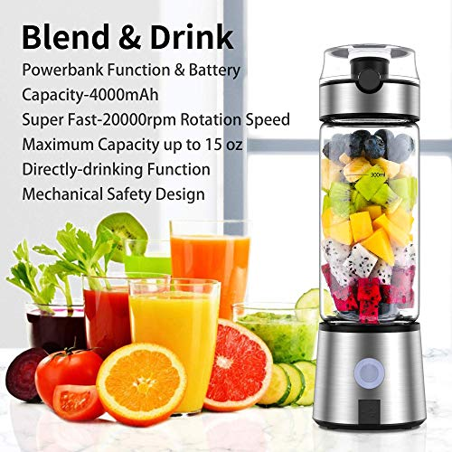 Smoothie Blender, Ayyie Personal Blender, Rechargeable Portable Blender Juicer Cup, Multifunctional Small Blender for Shakes and Smoothies, with 15oz BPA-Free Blender Cup 100W 20000rpm (with Silicone Ice Cube Tray/Cup Cover)