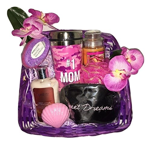 Purple Mid Gift Basket Bundle Glass Gifts Lotion Bath Body Bomb Foot Scrub Heart Spa Basket April Bath & Body #1 Mom Deluxe Purple Passion Spa Basket Candle Sleep (Haunted Night Deluxe Party Supplies)
