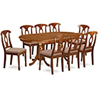 East West Furniture PLNA9-SBR-C 9-Piece Formal Dining Table Set