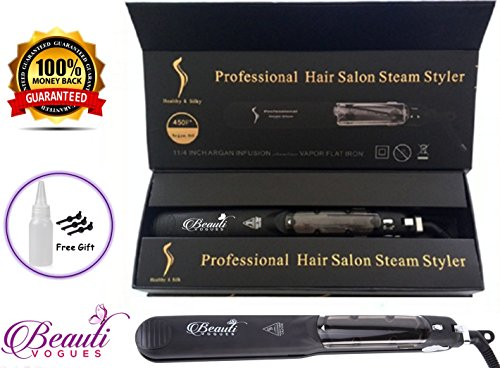 Steam Hair Straightener work with Argan Oil Infusion Treatment Professional Salon quality Tourmaline ceramic 2in1 curling & flat iron styler Straighteners 4 natural & curly hairs Dry & Wet 450ºF (Flat Iron Curly Hair)
