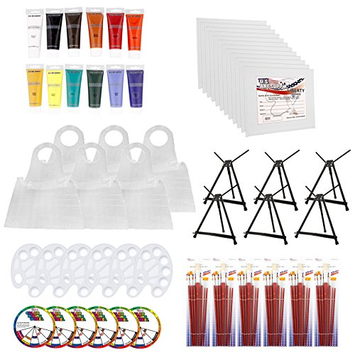 Party Canvas (U.S. Art Supply Paint and Wine Art Party Painting Kit for 6 - Easels, Paint, Canvas Panels, Brushes & Disposable Poly Aprons)