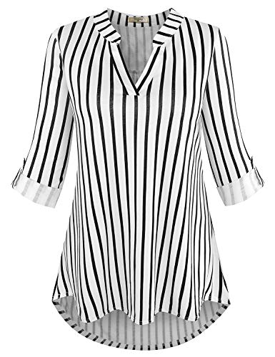 Sleeve Striped V-neck Top - Viracy Striped Blouses for Women, Womens 3/4 Roll Sleeve Shirt Notch V Neck Loose Pattern Tunic Top (Medium, Black Stripes)