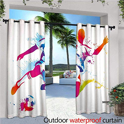(Teen Room Decor Outdoor Blackout Curtains Soccer Player Kicks The Ball Watercolor Style Spray Championship Image Outdoor Privacy Porch Curtains W84 x L108)
