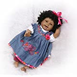 African American Reborn Baby Dolls Curls Girl Real Looking Toddler Denim Dress 22 Inches