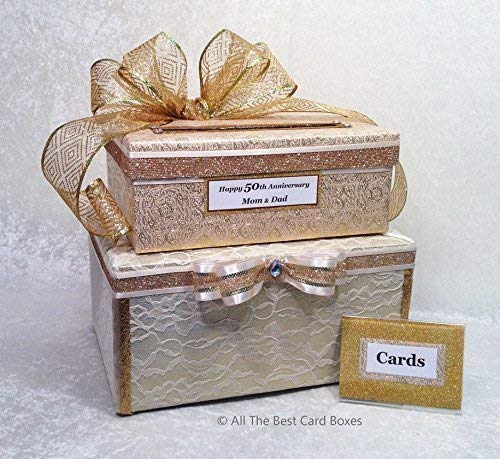 50th Anniversary Card Box Gold Wedding Card Holder 2 stacked boxes with Tiers fabric lace Handmade