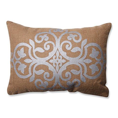 Pillow Perfect Silver Geometric Burlap Rectangular Throw Pillow, Tan